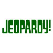 Jeopardy! Logo in White Background in Dark Green Letters