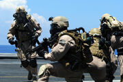 U.S. Navy Members Of Explosive Ordnance Disposal Mobile Unit (EODMU) 11, Platoon 0-2, Take Their Positions On The Flight Deck Of The Aircraft Carrier USS Ronald Reagan During A Fast Roping Exercise