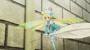 Fay the Fairy bringing a quill pen to register at Hotel Shokai Episode 18