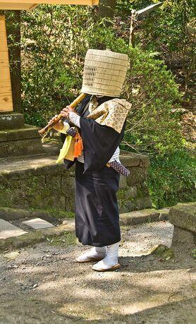 Komuso Buddhist monk beggar Kita-kamakura