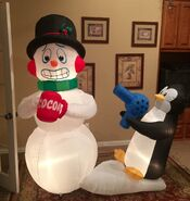 Gemmy Prototype Christmas Penguin Snowman Scene Inflatable Airblown