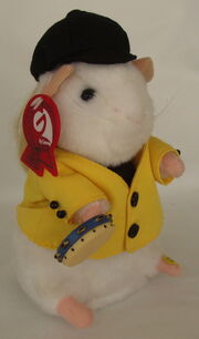 Gemmy 2003 Singing Louie Dancing Tambourine Long Haired Hamster Plush NWT