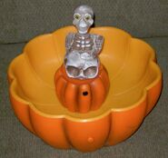Vintage Halloween 9'' GEMMY ANIMATED SKELETON PUMPKIN BLOW MOLD CANDY BOWL