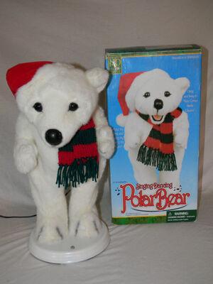 North Pole Productions 18'' Singing Dancing Polar Bear ''Here Comes Santa Claus''
