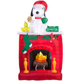 Gemmy 2016 inflatable-Snoopy & Woodstock sitting on mantle fireplace