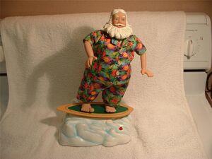 CHRISTMAS TROPICAL SURFING SANTA ANIMATED