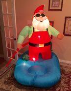Gemmy Prototype Christmas Santa Fishing Inflatable Airblown