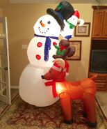 Gemmy Prototype Christmas Critters Biulding Snowman Scene Inflatable Airblown