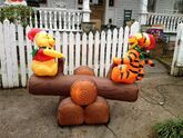 Gemmy animated inflatable pooh and tigger on seesaw