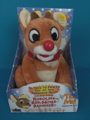 NEW RUDOLPH THE REDNOSED REINDEER Gemmy SINGING Christmas PLUSH 1998