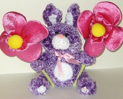 Gemmy Peek A Boo Plush Easter Bunny Rabbit with Big Flowers