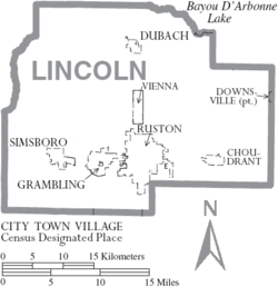 Map of Lincoln Parish Louisiana With Municipal Labels