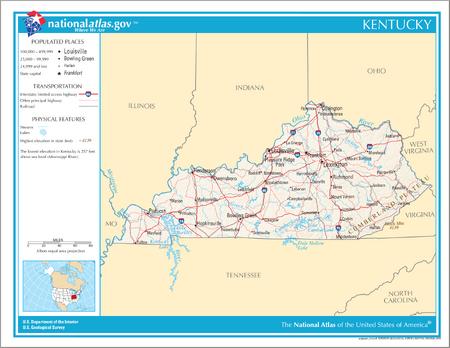 Map of Kentucky NA