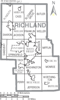 Map of Richland County Ohio With Municipal and Township Labels