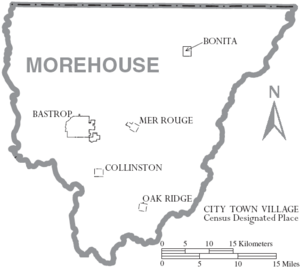 Map of Morehouse Parish Louisiana With Municipal Labels