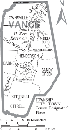 Map of Vance County North Carolina With Municipal and Township Labels
