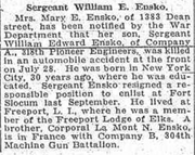 William Edward Ensko (1888-1918) death reported in the Brooklyn Eagle on Thursday, August 15, 1918