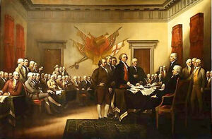 depicts the five-man committee presenting the draft of the Declaration of Independence to Congress.