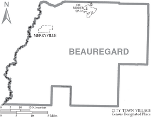 Map of Beauregard Parish Louisiana With Municipal Labels