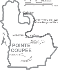 Map of Pointe Coupee Parish Louisiana With Municipal Labels