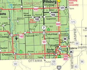 Map of Cherokee Co, Ks, USA