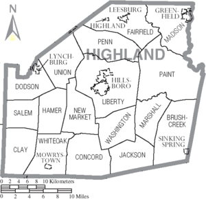 Map of Highland County Ohio With Municipal and Township Labels