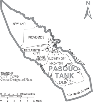 Map of Pasquotank County North Carolina With Municipal and Township Labels