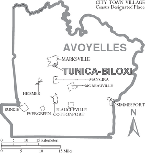 Map of Avoyelles Parish Louisiana With Municipal Labels