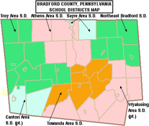 Map of Bradford County Pennsylvania School Districts