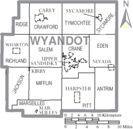 Map of Wyandot County Ohio With Municipal and Township Labels