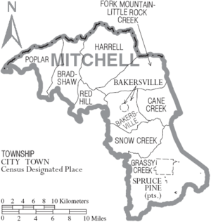 Map of Mitchell County North Carolina With Municipal and Township Labels