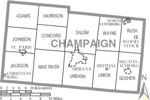 Map of Champaign County Ohio With Municipal and Township Labels