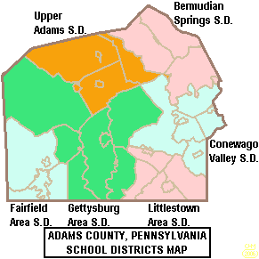 Map of Adams County Pennsylvania School Districts