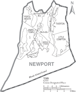 Map of Newport County Rhode Island With Municipal Labels