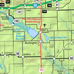 Map of Coffey Co, Ks, USA
