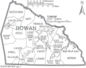 Map of Rowan County North Carolina With Municipal and Township Labels