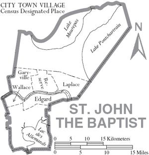 Map of St. John the Baptist Parish Louisiana With Municipal Labels