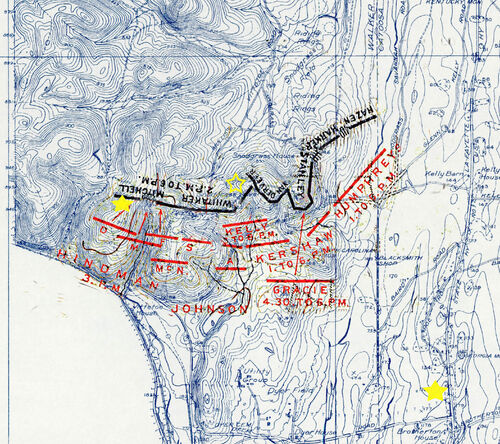 1863 09 20 chickamauga Snodgrass defensive line topo map