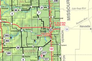 Map of Bourbon Co, Ks, USA