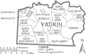 Map of Yadkin County North Carolina With Municipal and Township Labels