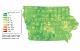 Iowa population map