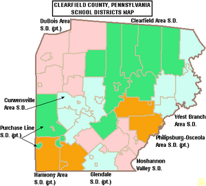 Map of Clearfield County Pennsylvania School Districts
