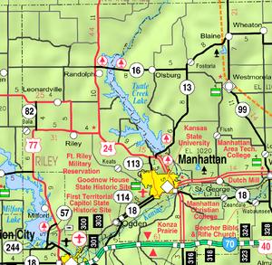 Map of Riley Co, Ks, USA