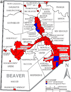 Map of Beaver County Pennsylvania With Municipal and Township Labels