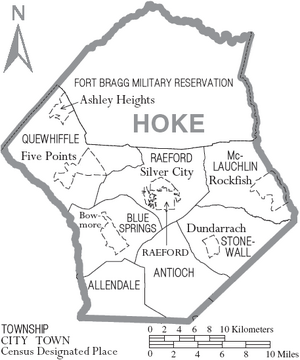 Map of Hoke County North Carolina With Municipal and Township Labels