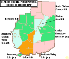 Map of Clarion County Pennsylvania School Districts