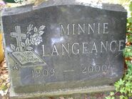Minnie Langeance headstone