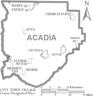 Map of Acadia Parish Louisiana With Municipal Labels