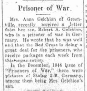 Robert A. Gelchion as a prisoner of war reported on January 18, 1945 in the Greene County Examiner-Recorder