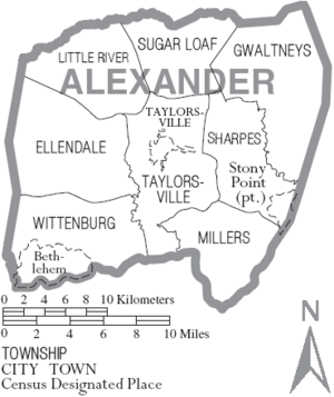 Map of Alexander County North Carolina With Municipal and Township Labels